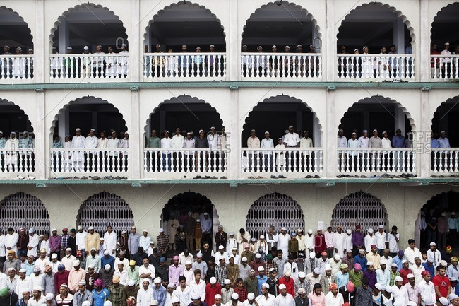 Kathmandu, Nepal - September 25, 2015: Muslims gathered to attend Eid Al Fitrl celebration at Kashmiri Mosque in Kathmandu