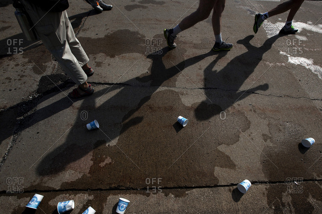 Empty water cups thrown on ground by runners