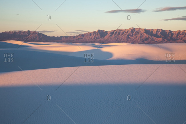 Sunrise and long shadows on dunes in White Sands National Monument