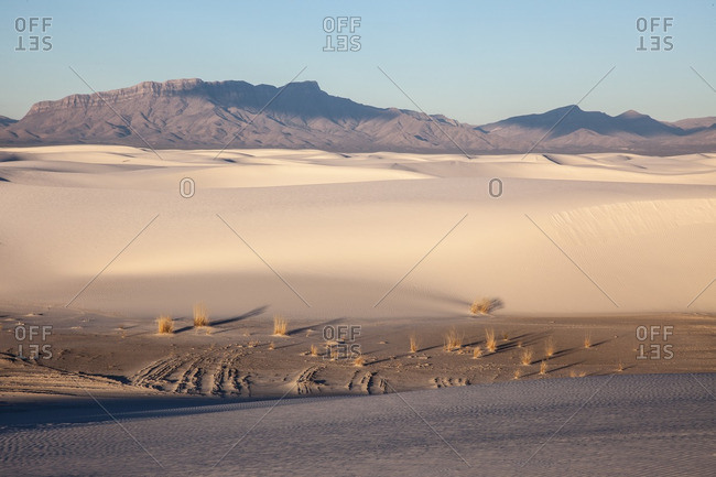 Early morning light on dunes and San Andres Mountains at White Sands National Monument