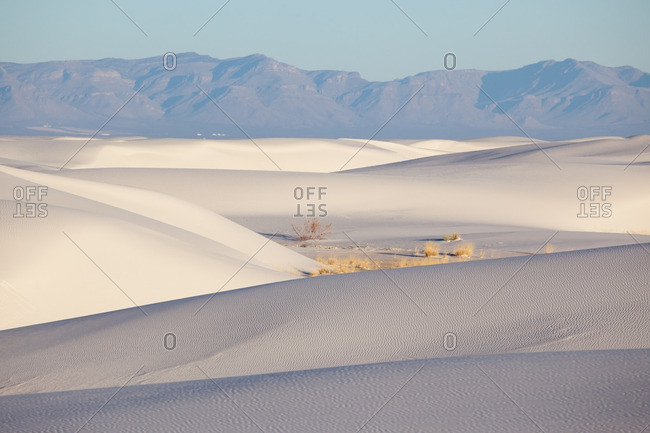 San Andres Mountains and morning light on dunes in White Sands National Monument