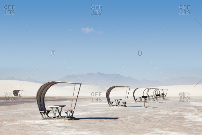 Shaded picnic tables at White Sands National Monument