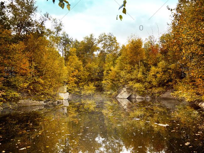 A scenic autumn lake