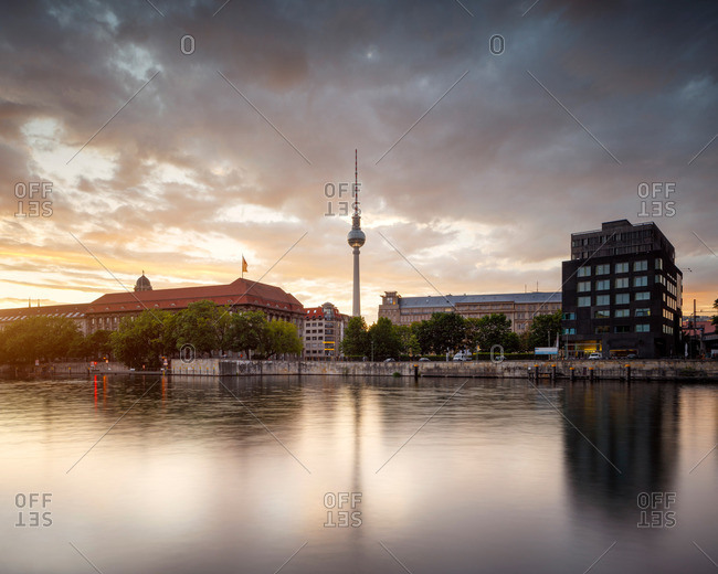 Berlin TV Tower rising over the Berlin skyline at dusk