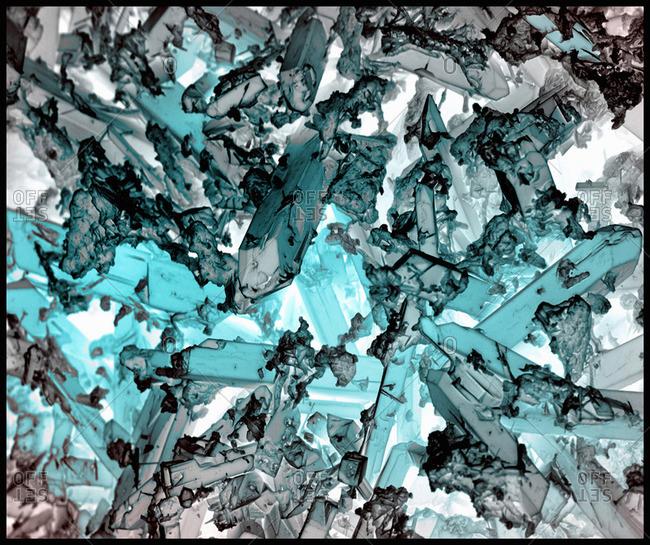 Indicolite corrosion crystals, inverted, SEM