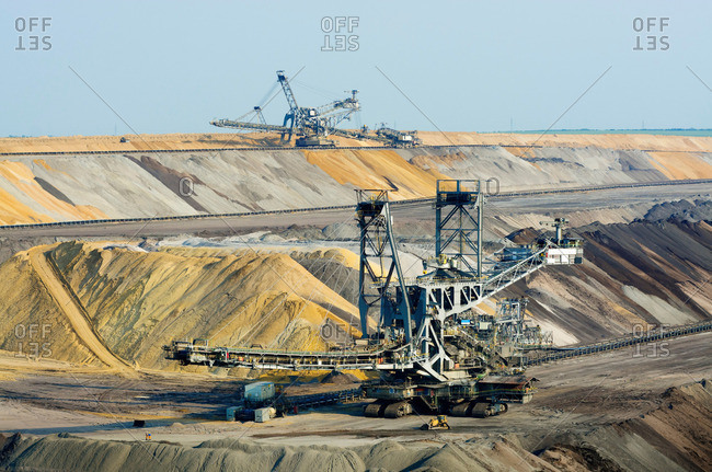 Juchen, Germany - April 7, 2013: Opencast brown coal mining