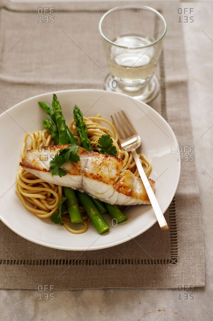 Grilled fish, asparagus and linguine