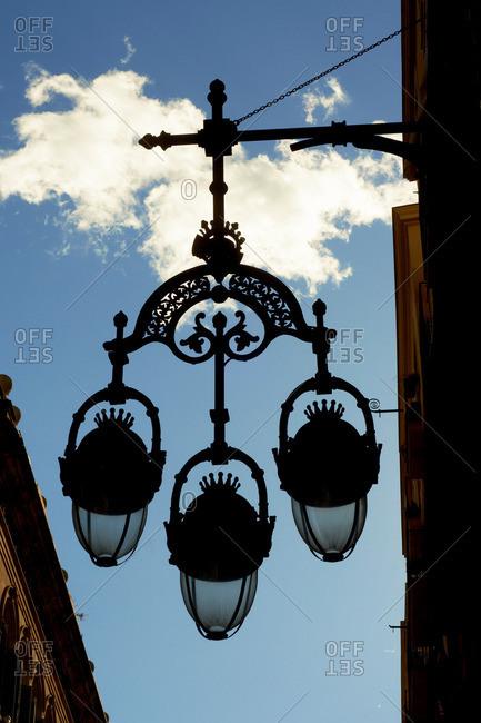 Ornate street light, Barcelona, Spain