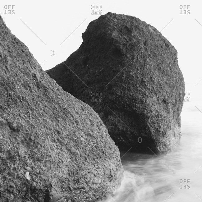 Rock formations, boulders on Ruby Beach