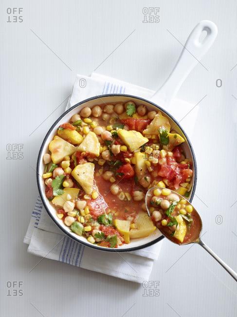 Vegetable stew in a crock