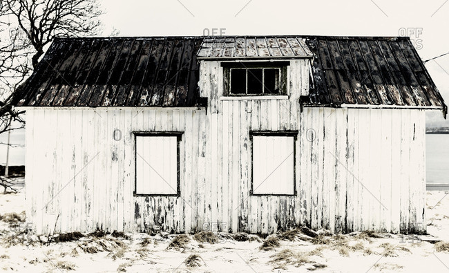 Small wood outbuilding in Lofoten, Norway