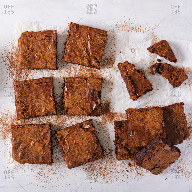 A table covered in brownie squares