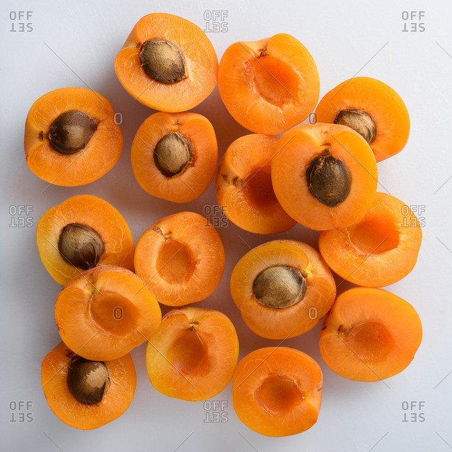 Apricot halves on a table