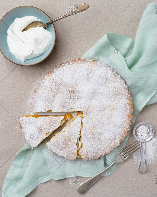 Apricot frangipane served with fresh whipping cream