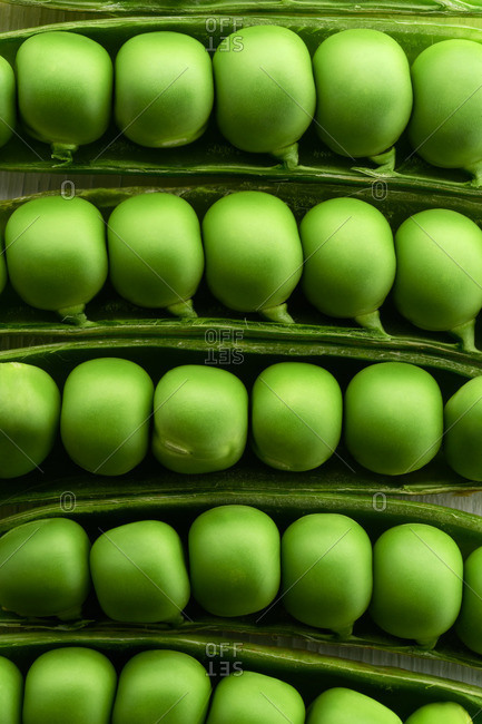 Close-up of a row of pea pods