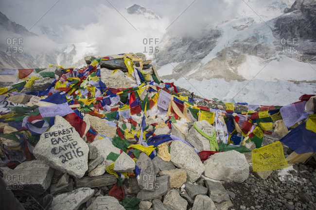 Prayer flags adorn the area around Everest Base Camp in Nepal