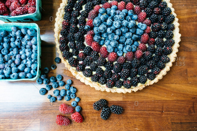 Overhead view of a berry tart