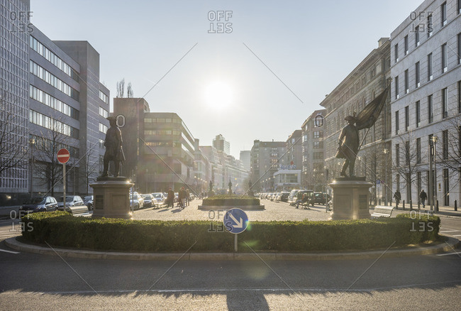 Germany- Berlin- view to Zietenplatz at backlight