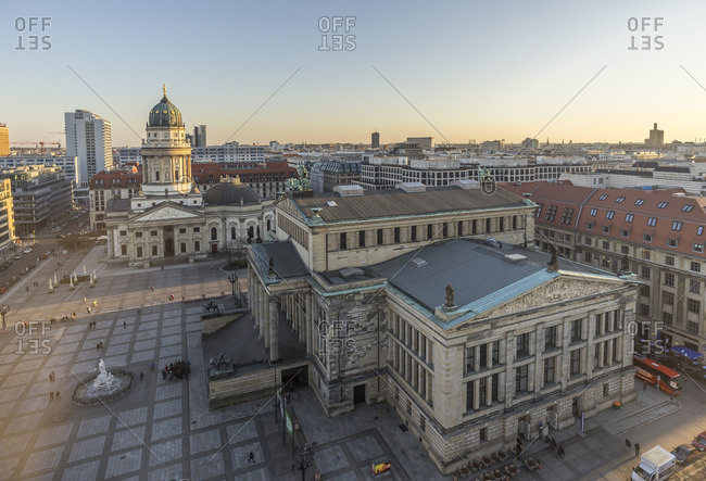 Berlin, Germany - March 18, 2015: View to Gendarmenmarkt from above in the evening
