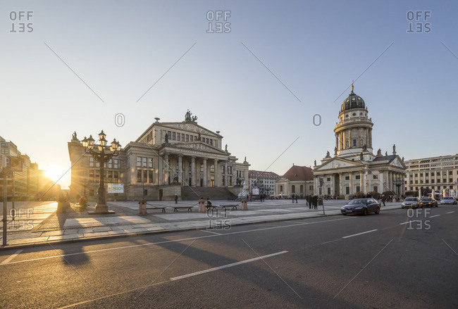 Berlin, Germany - March 16, 2016: View to Gendarmenmarkt in the evening