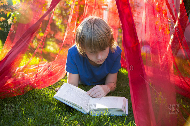 Boy lying on a meadow under mosquito net reading a book