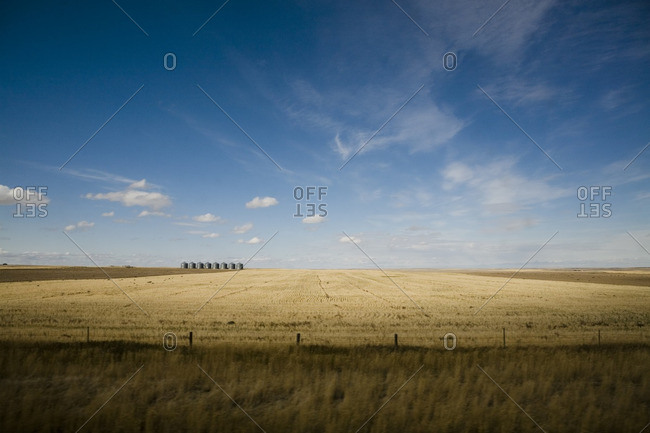 Silos in an open field in Montana