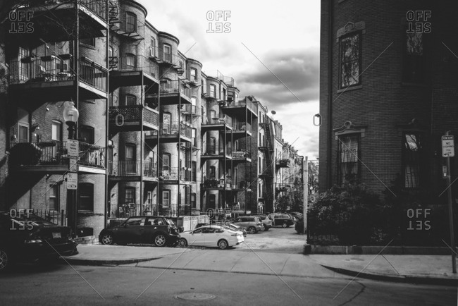 Boston, MA, USA - May 5, 2015: Apartment building with balconies