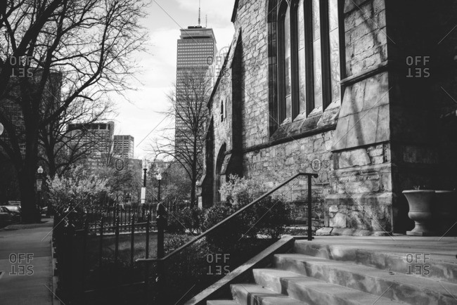 Boston, MA, USA - May 5, 2015: View of Prudential Tower from church steps