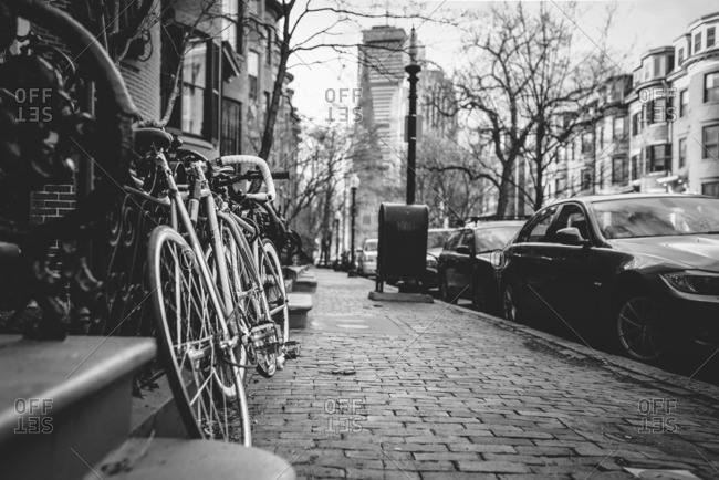 Boston, MA, USA - May 5, 2015: Bikes on a sidewalk