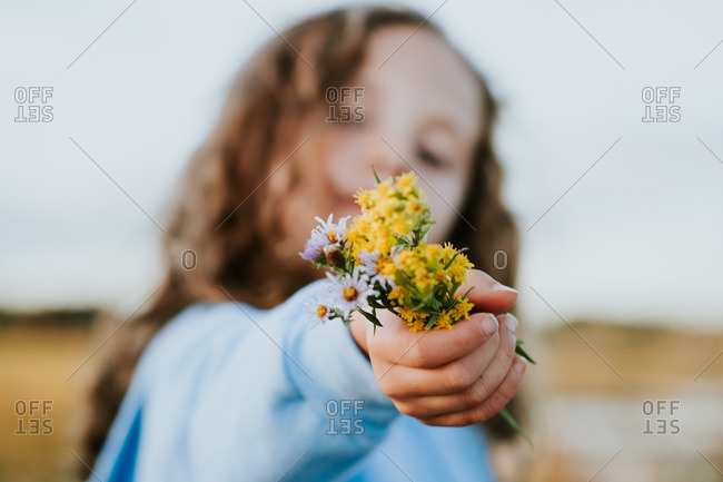 Little girl holding a handful of wildflowers