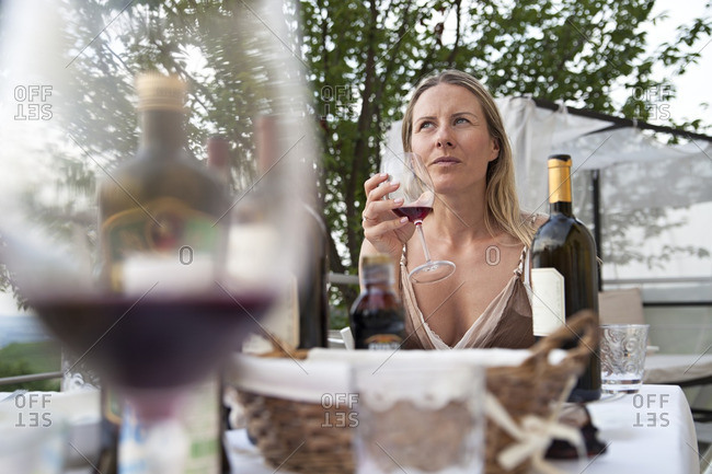 Woman at a wine tasting