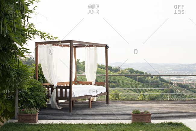 Daybed on a terrace in Alba, Piedmont, Italy