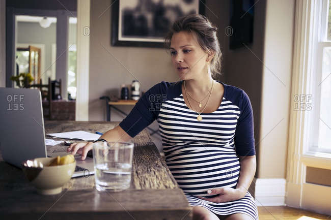 Pregnant woman using laptop at home