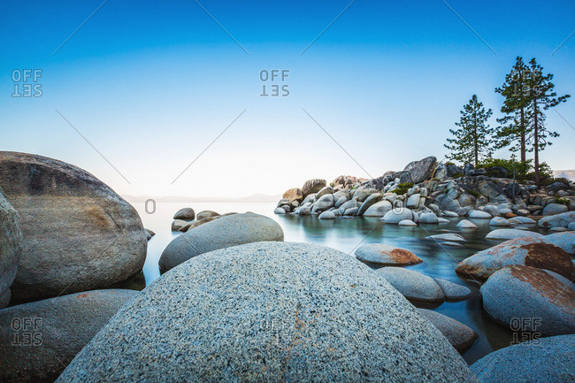 A rock strewn shoreline
