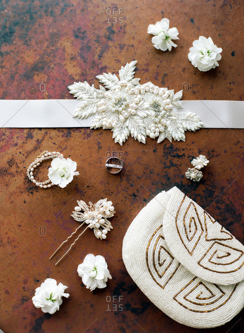 Bride's beaded purse and floral wedding accessories
