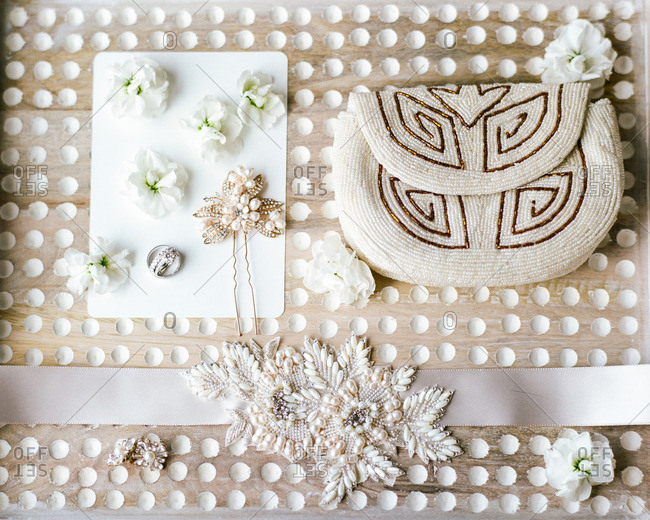 Beaded clutch purse and bridal accessories