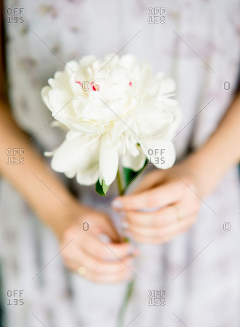 Bridesmaid holding a large white blossom