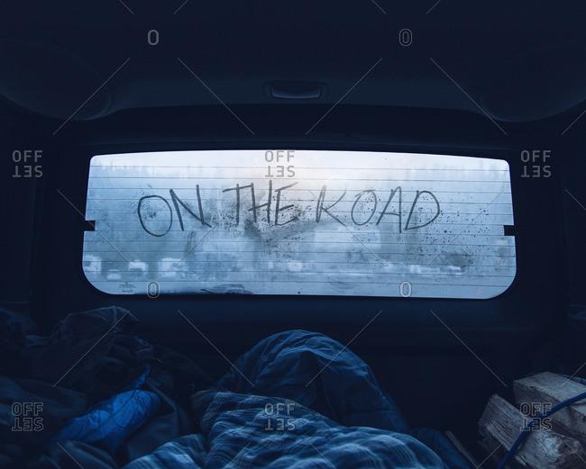 July 3, 2016: Travel message on car window