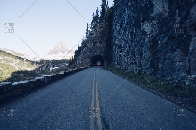 Road and tunnel in mountains
