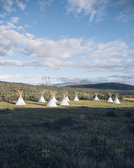 Tepees in a mountain setting