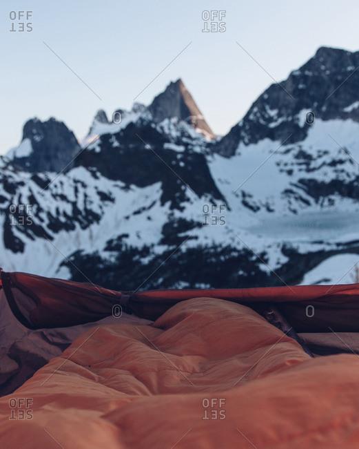 Sleeping bag in snowy mountains