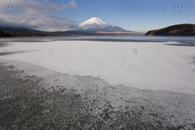 Ice on Lake Yamanaka near Mount Fuji, Japan