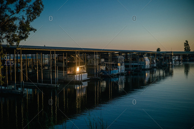 Sunlight reflecting off boats in a boat slip