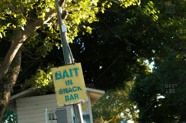 Bait sign at a marina in California