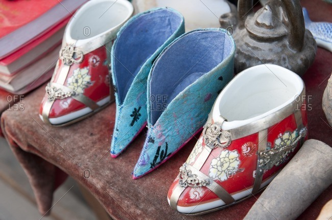 Ancient style Chinese shoes on table