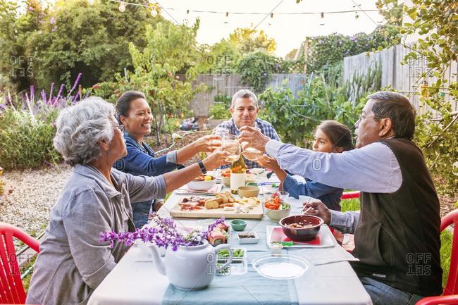Family toasting wineglasses on picnic table at backyard