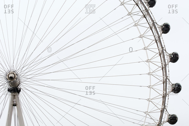 Low angle view of London Eye against clear sky