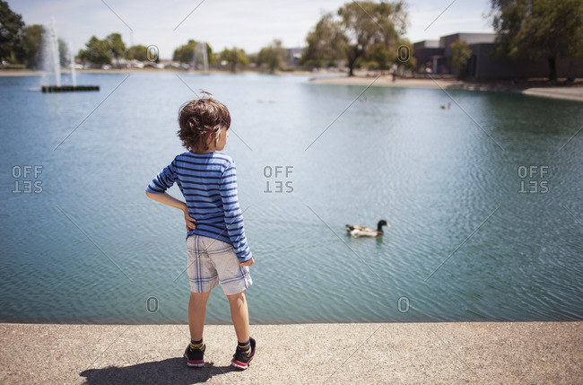 Rear view of boy standing on footpath by lake