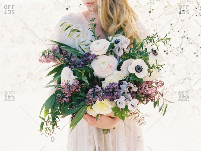 Bride with a large bouquet