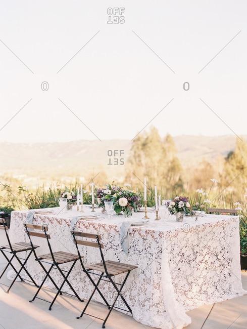 Wedding table on hilltop